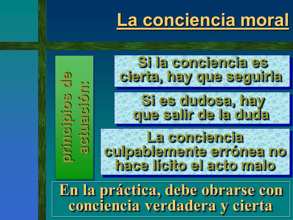 La conciencia moral Si la conciencia es cierta, hay que seguirla. Si es dudosa, hay que salir de la duda.