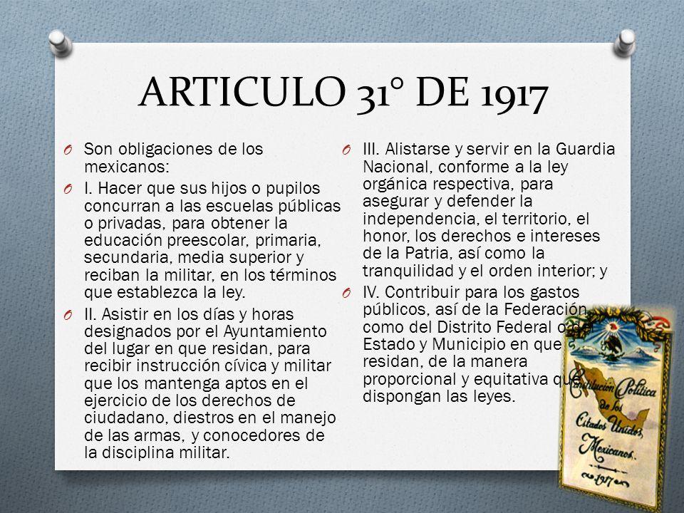 ARTICULO 31° DE 1917 Son obligaciones de los mexicanos: