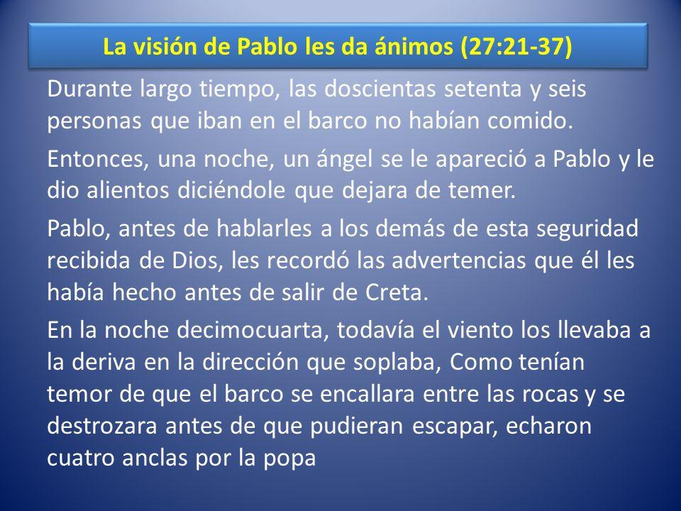 La visión de Pablo les da ánimos (27:21-37)