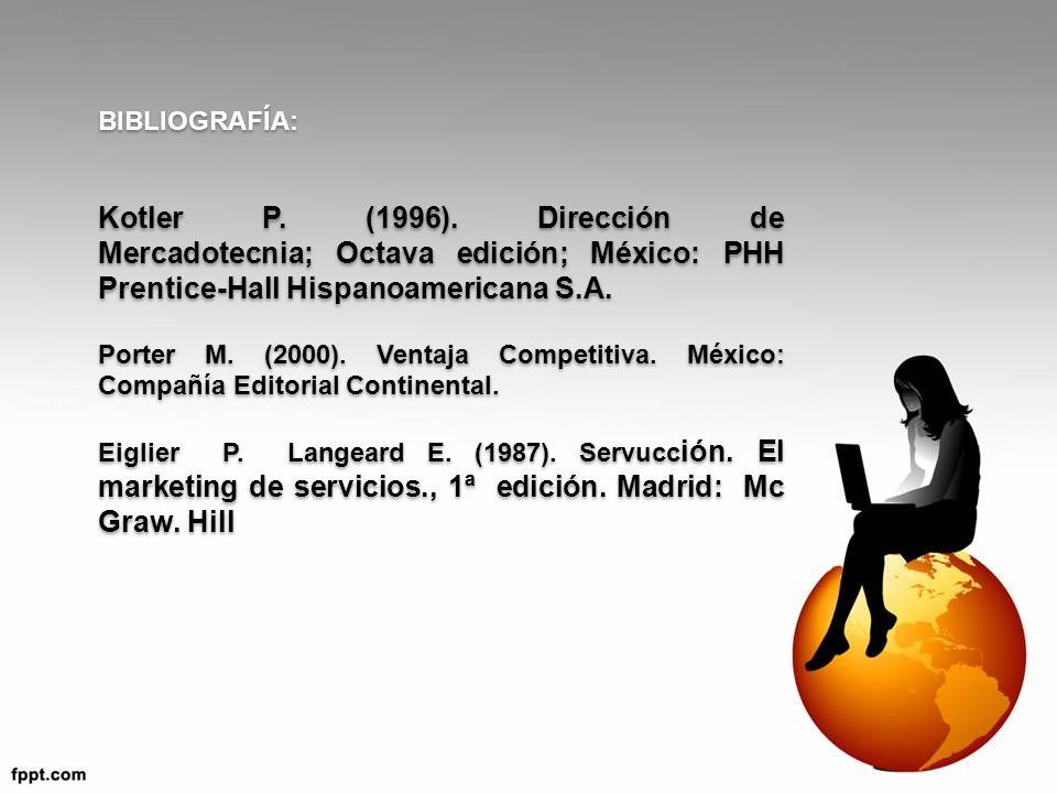 BIBLIOGRAFÍA: Kotler P. (1996). Dirección de Mercadotecnia; Octava edición; México: PHH Prentice-Hall Hispanoamericana S.A.