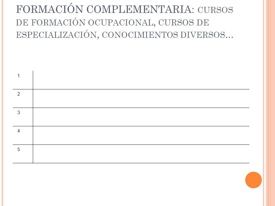 FORMACIÓN COMPLEMENTARIA: cursos de formación ocupacional, cursos de especialización, conocimientos diversos...