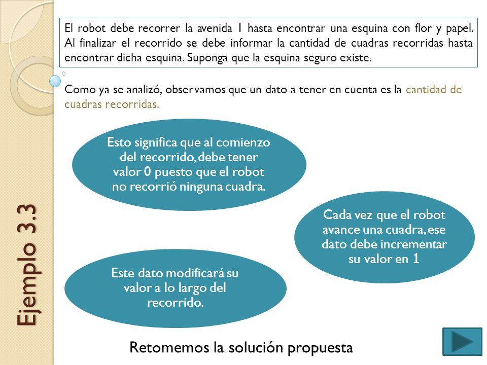 Ejemplo 3.3 Retomemos la solución propuesta