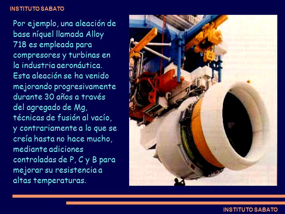 Por ejemplo, una aleación de base níquel llamada Alloy 718 es empleada para compresores y turbinas en la industria aeronáutica.
