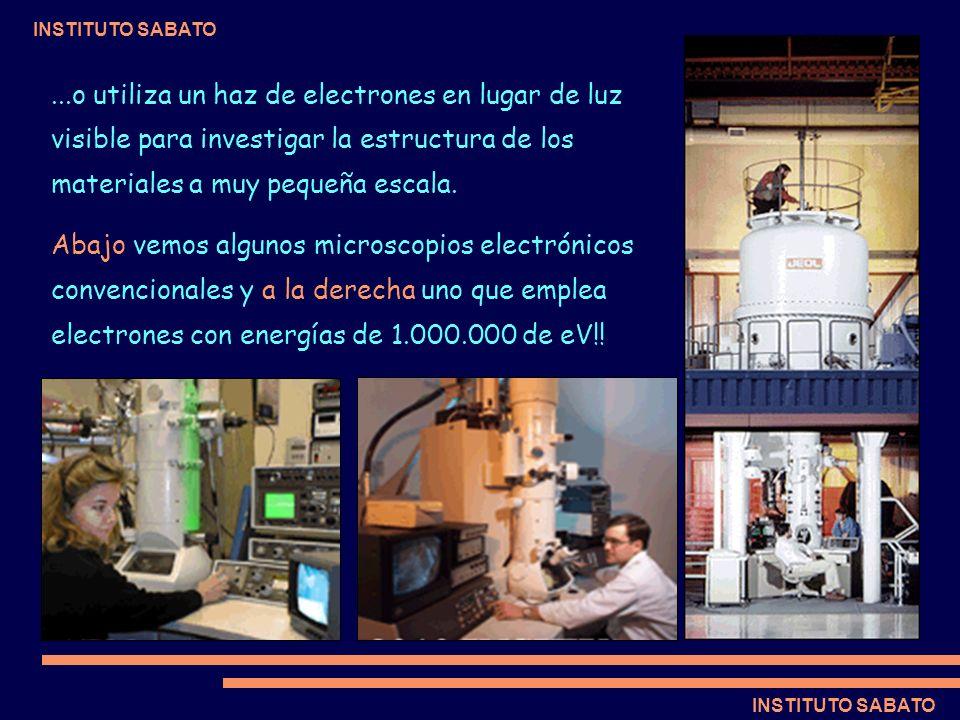 ...o utiliza un haz de electrones en lugar de luz visible para investigar la estructura de los materiales a muy pequeña escala.