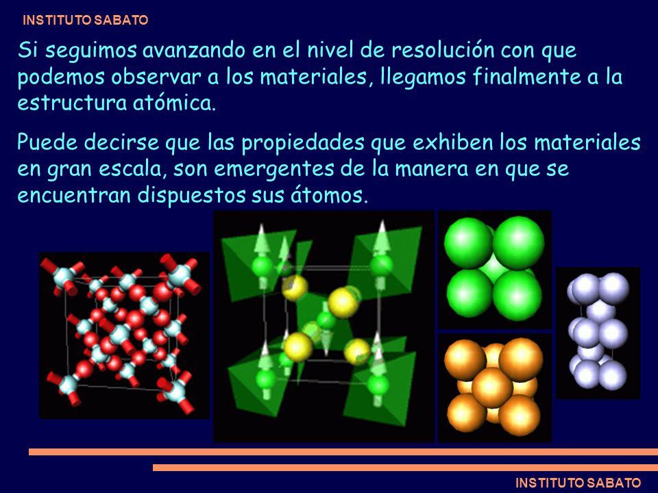 Si seguimos avanzando en el nivel de resolución con que podemos observar a los materiales, llegamos finalmente a la estructura atómica.
