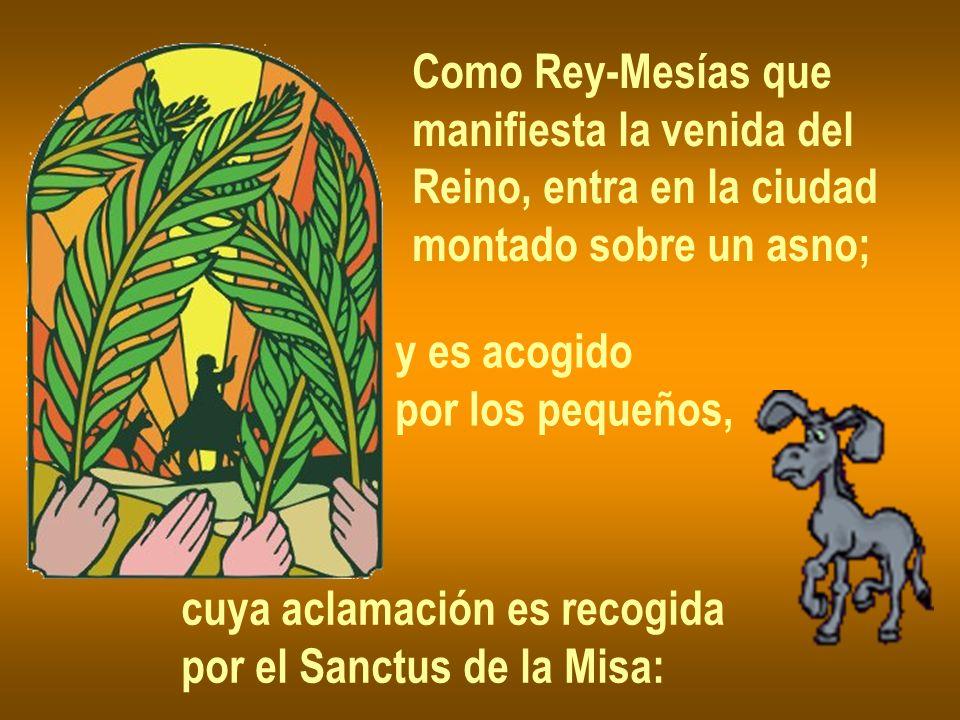 Como Rey-Mesías que manifiesta la venida del. Reino, entra en la ciudad. montado sobre un asno; y es acogido.