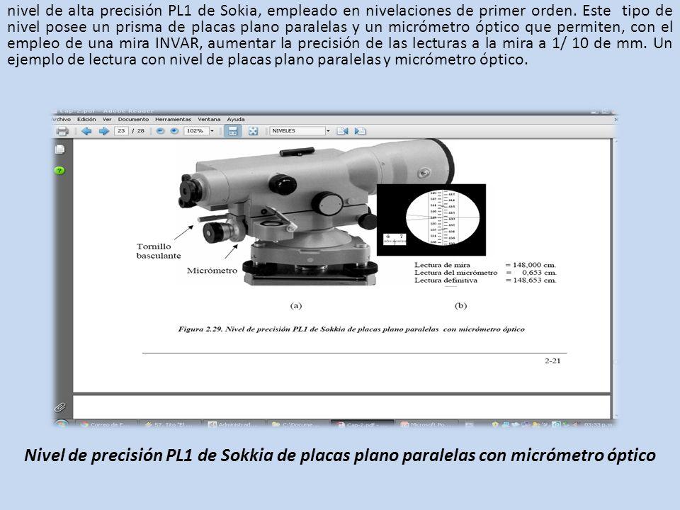 nivel de alta precisión PL1 de Sokia, empleado en nivelaciones de primer orden. Este tipo de nivel posee un prisma de placas plano paralelas y un micrómetro óptico que permiten, con el empleo de una mira INVAR, aumentar la precisión de las lecturas a la mira a 1/ 10 de mm. Un ejemplo de lectura con nivel de placas plano paralelas y micrómetro óptico.