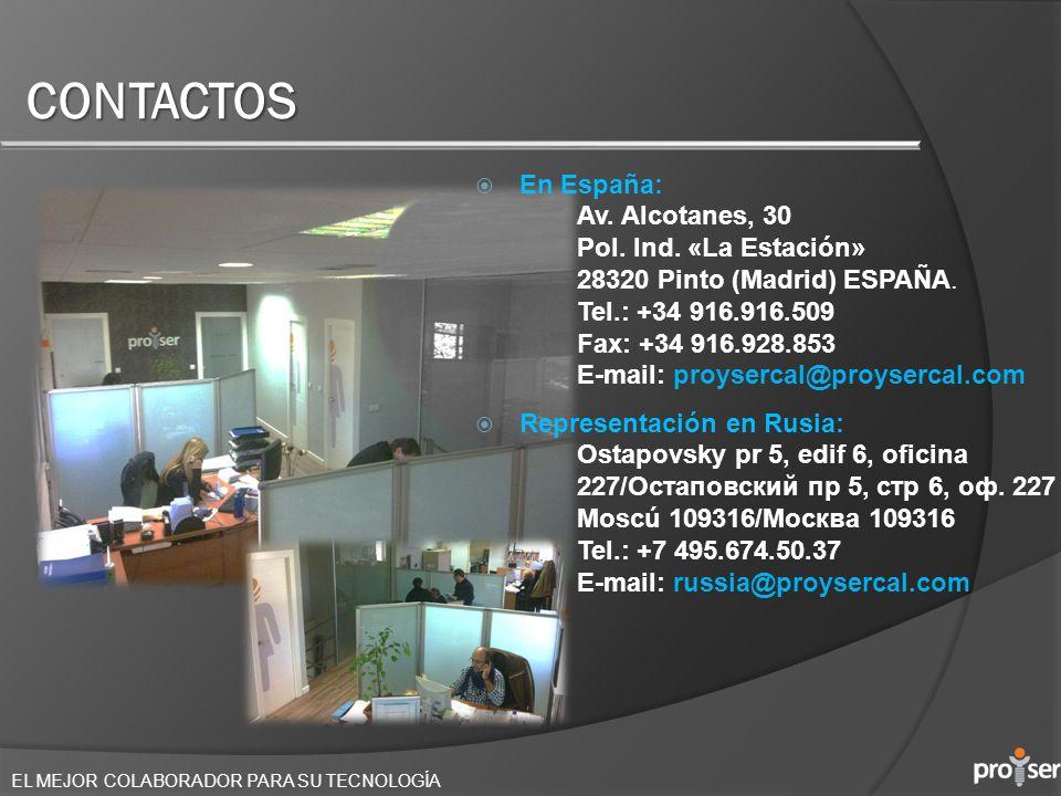 CONTACTOS En España: Av. Alcotanes, 30 Pol. Ind. «La Estación»