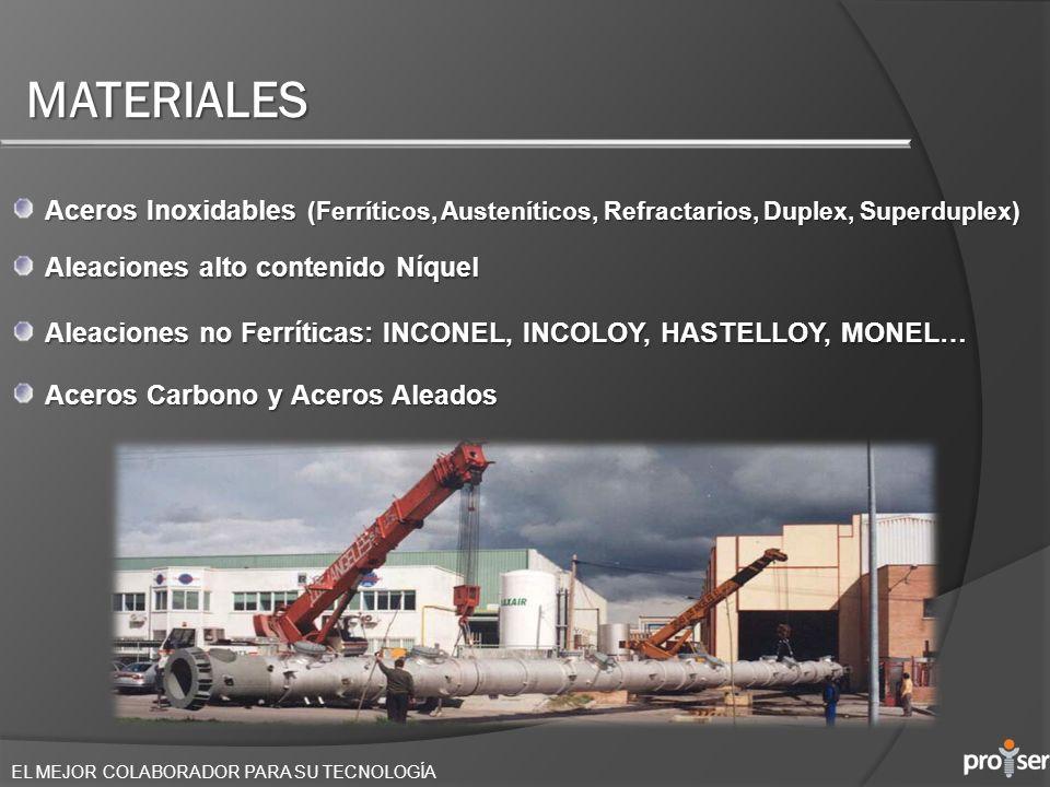 MATERIALES Aceros Inoxidables (Ferríticos, Austeníticos, Refractarios, Duplex, Superduplex) Aleaciones alto contenido Níquel.