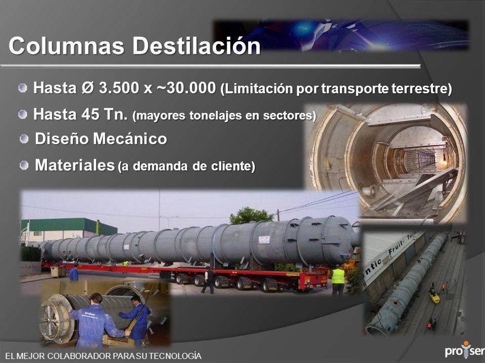 Columnas Destilación Hasta Ø 3.500 x ~30.000 (Limitación por transporte terrestre) Hasta 45 Tn. (mayores tonelajes en sectores)