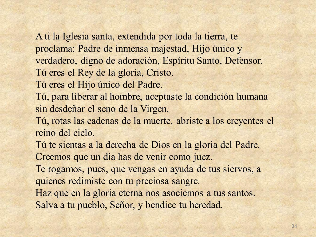 A ti la Iglesia santa, extendida por toda la tierra, te proclama: Padre de inmensa majestad, Hijo único y verdadero, digno de adoración, Espíritu Santo, Defensor.