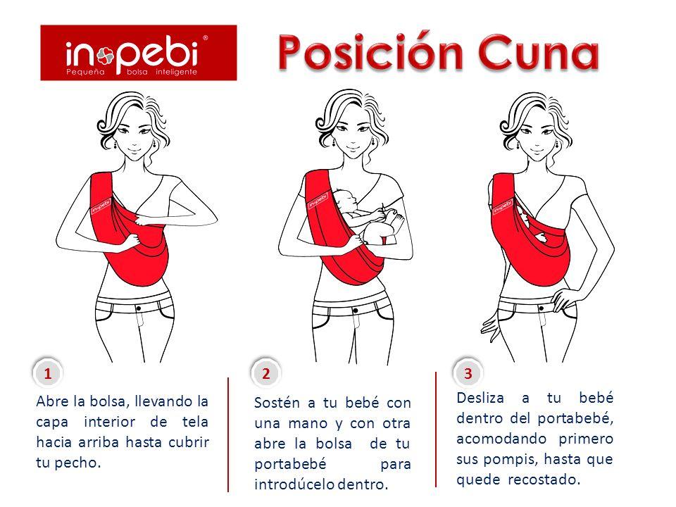 Posición Cuna Abre la bolsa, llevando la capa interior de tela hacia arriba hasta cubrir tu pecho. 1.