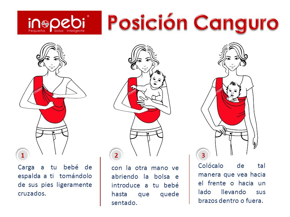Posición Canguro Carga a tu bebé de espalda a ti tomándolo de sus pies ligeramente cruzados. 1.