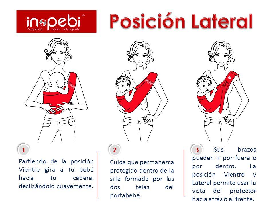 Posición Lateral Partiendo de la posición Vientre gira a tu bebé hacia tu cadera, deslizándolo suavemente.