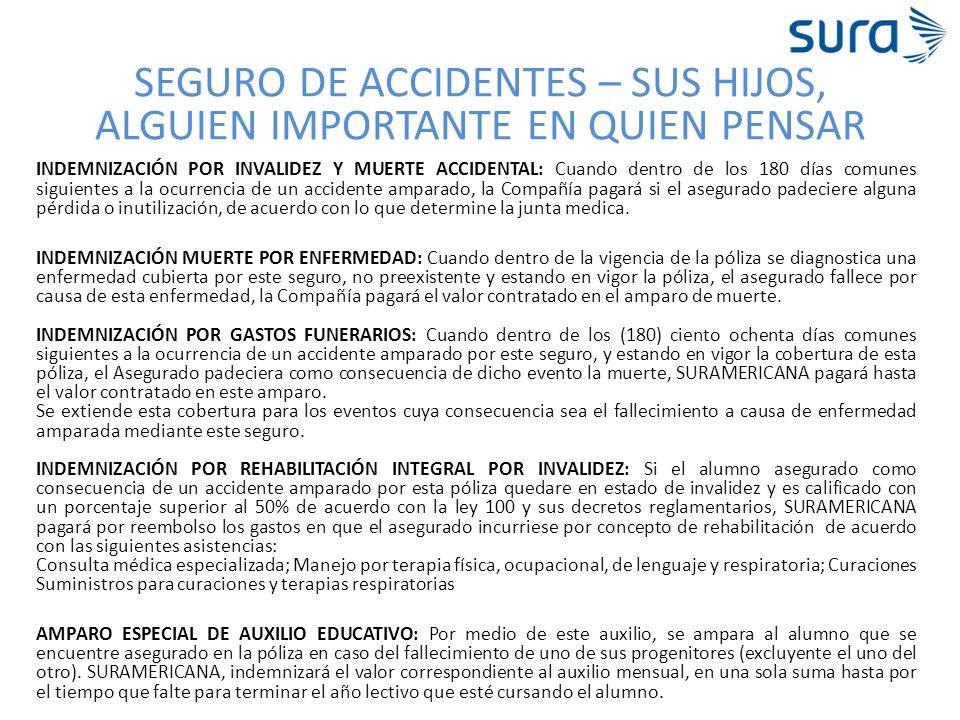 SEGURO DE ACCIDENTES – SUS HIJOS, ALGUIEN IMPORTANTE EN QUIEN PENSAR