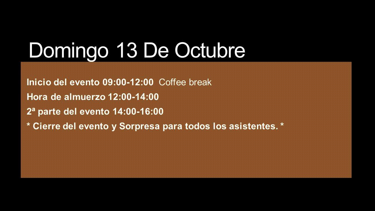 Domingo 13 De Octubre Inicio del evento 09:00-12:00 Coffee break