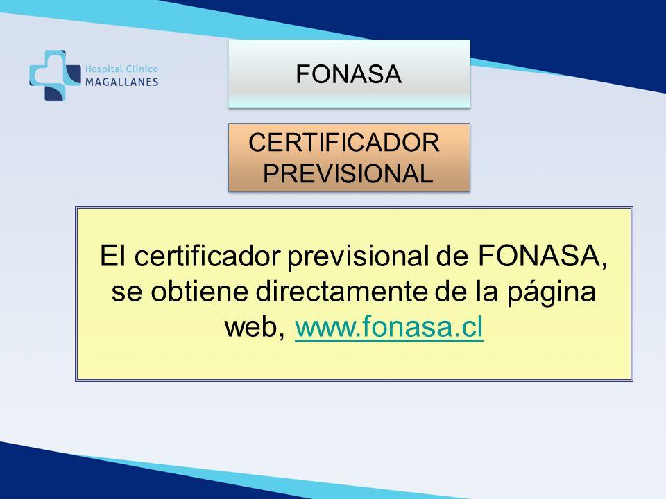 FONASA CERTIFICADOR. PREVISIONAL.