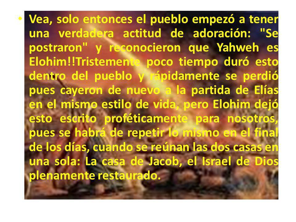 Vea, solo entonces el pueblo empezó a tener una verdadera actitud de adoración: Se postraron y reconocieron que Yahweh es Elohim!!Tristemente poco tiempo duró esto dentro del pueblo y rápidamente se perdió pues cayeron de nuevo a la partida de Elías en el mismo estilo de vida, pero Elohim dejó esto escrito proféticamente para nosotros, pues se habrá de repetir lo mismo en el final de los días, cuando se reúnan las dos casas en una sola: La casa de Jacob, el Israel de Dios plenamente restaurado.