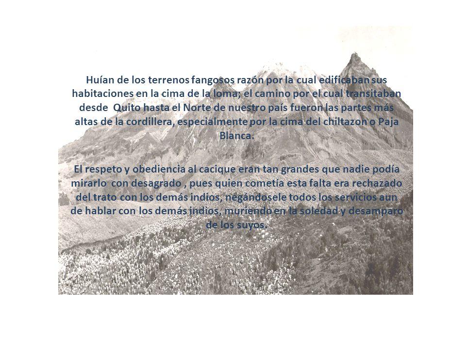 Huían de los terrenos fangosos razón por la cual edificaban sus habitaciones en la cima de la loma; el camino por el cual transitaban desde Quito hasta el Norte de nuestro país fueron las partes más altas de la cordillera, especialmente por la cima del chiltazon o Paja Blanca.