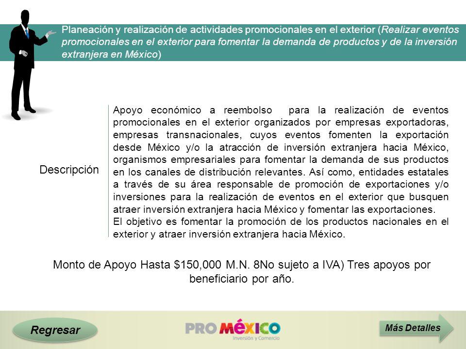 Planeación y realización de actividades promocionales en el exterior (Realizar eventos promocionales en el exterior para fomentar la demanda de productos y de la inversión extranjera en México)