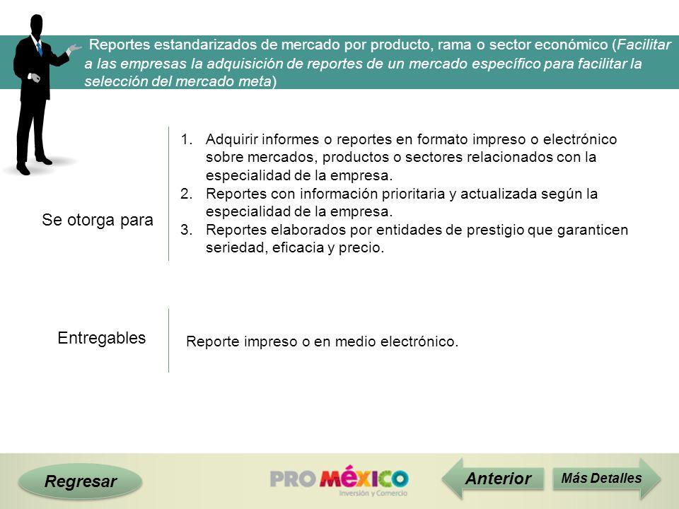 Reportes estandarizados de mercado por producto, rama o sector económico (Facilitar a las empresas la adquisición de reportes de un mercado específico para facilitar la selección del mercado meta)