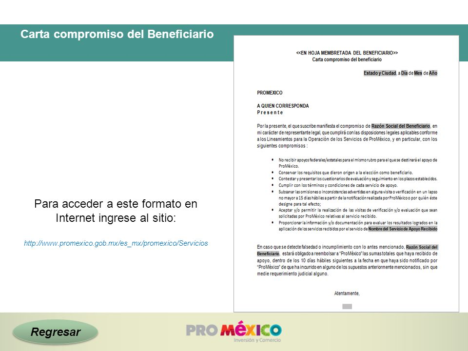 Carta compromiso del Beneficiario