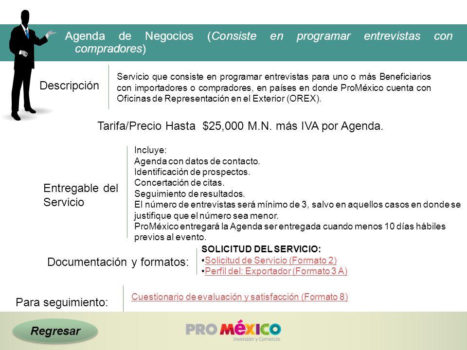 Tarifa/Precio Hasta $25,000 M.N. más IVA por Agenda.