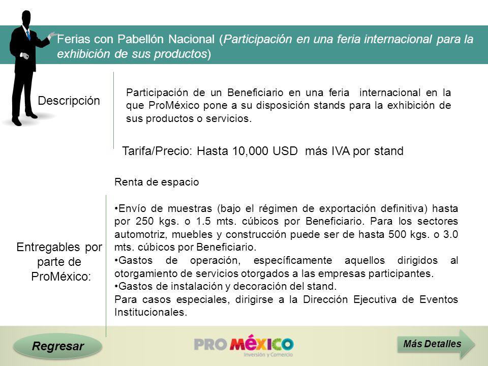 Tarifa/Precio: Hasta 10,000 USD más IVA por stand