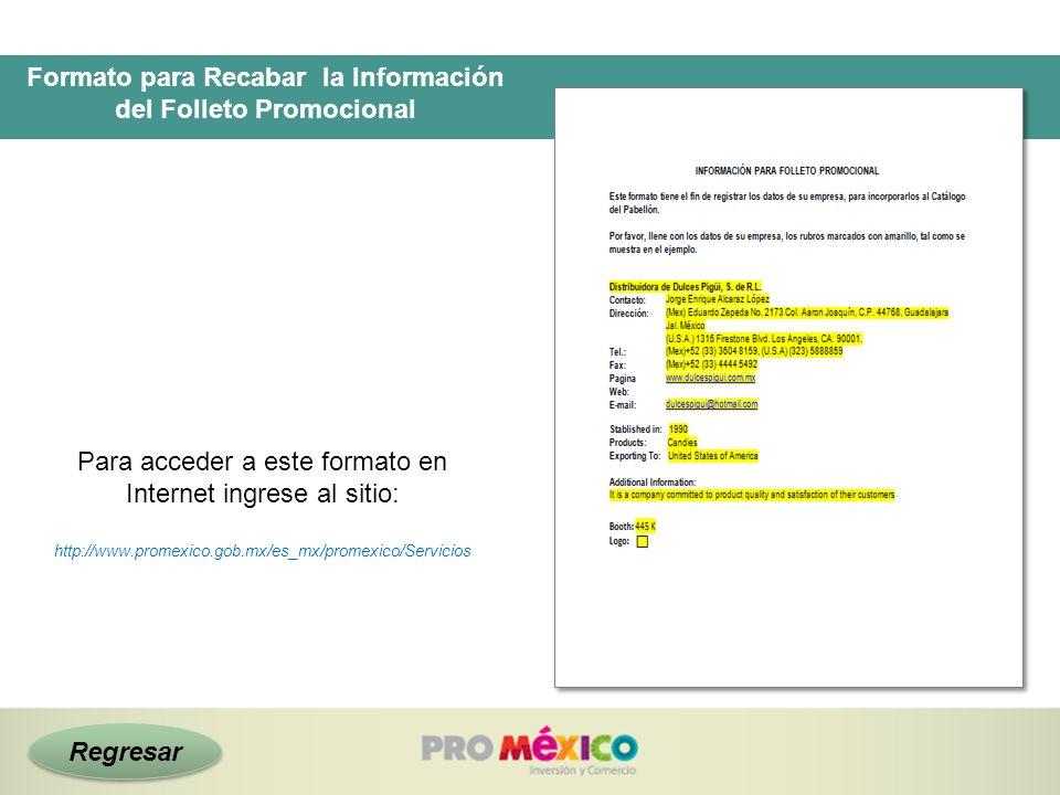 Formato para Recabar la Información del Folleto Promocional