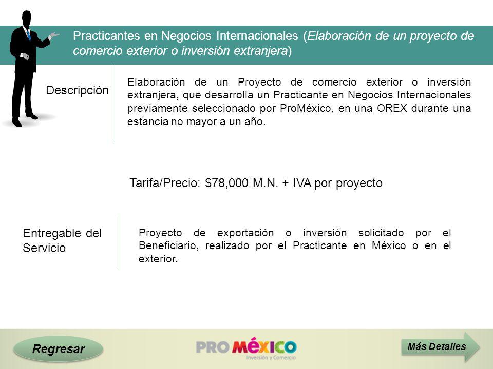 Tarifa/Precio: $78,000 M.N. + IVA por proyecto