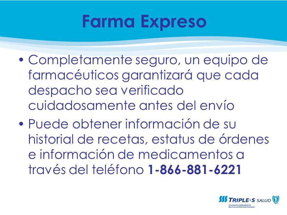 Farma ExpresoCompletamente seguro, un equipo de farmacéuticos garantizará que cada despacho sea verificado cuidadosamente antes del envío.