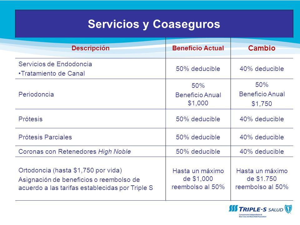 Servicios y Coaseguros