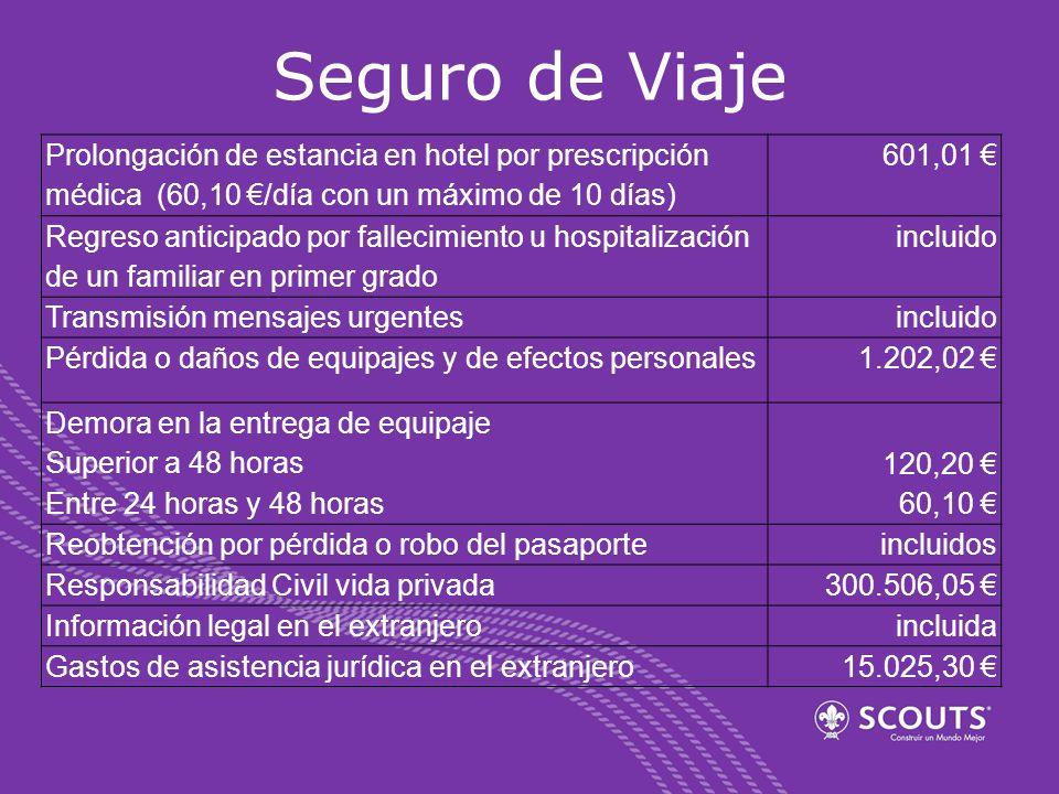 Seguro de Viaje Prolongación de estancia en hotel por prescripción médica (60,10 €/día con un máximo de 10 días)