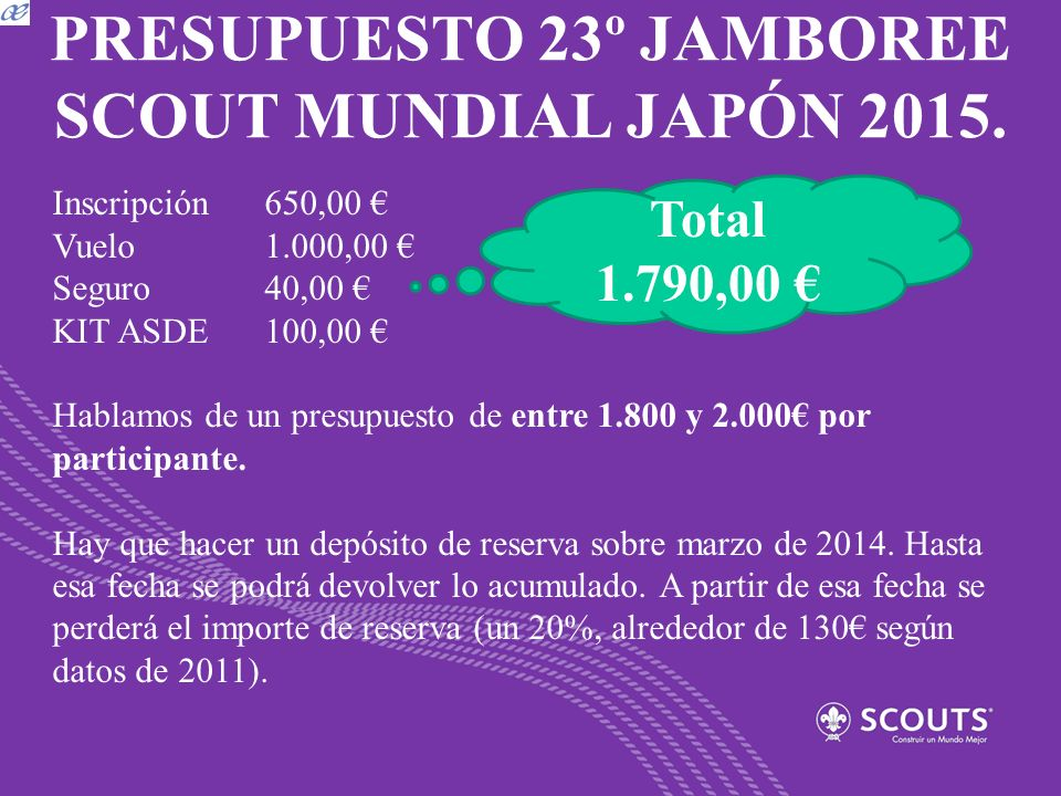 PRESUPUESTO 23º JAMBOREE SCOUT MUNDIAL JAPÓN 2015.