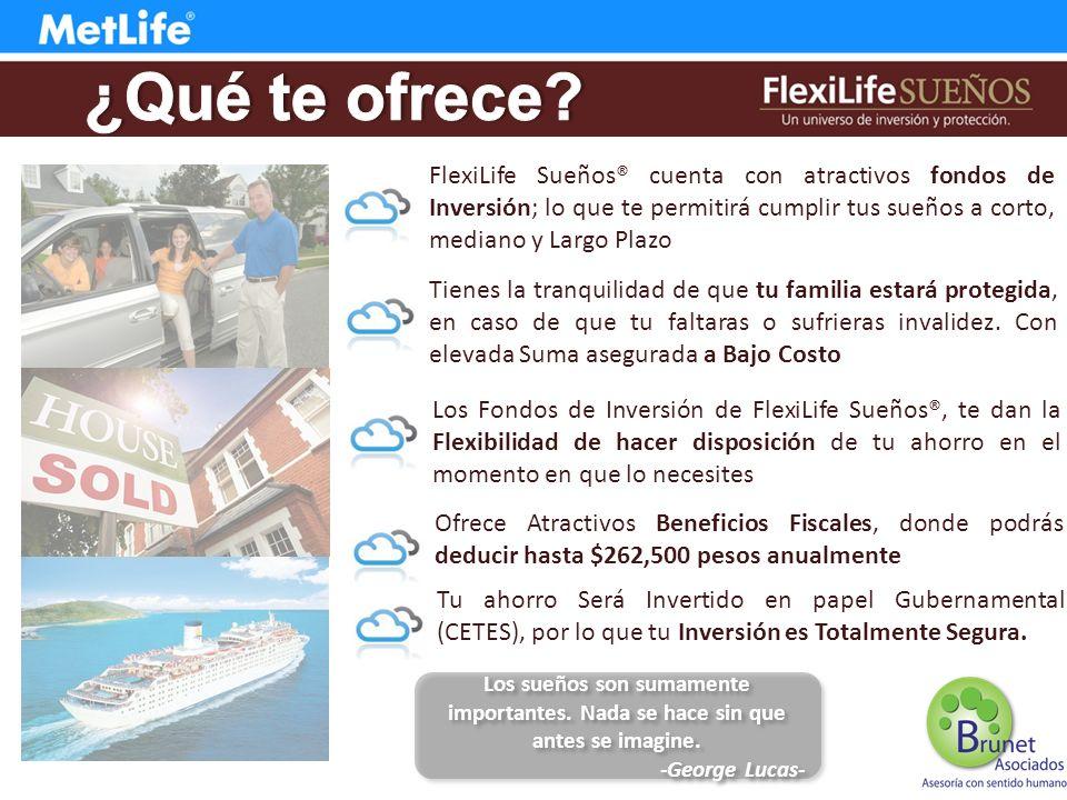 ¿Qué te ofrece FlexiLife Sueños® cuenta con atractivos fondos de Inversión; lo que te permitirá cumplir tus sueños a corto, mediano y Largo Plazo.