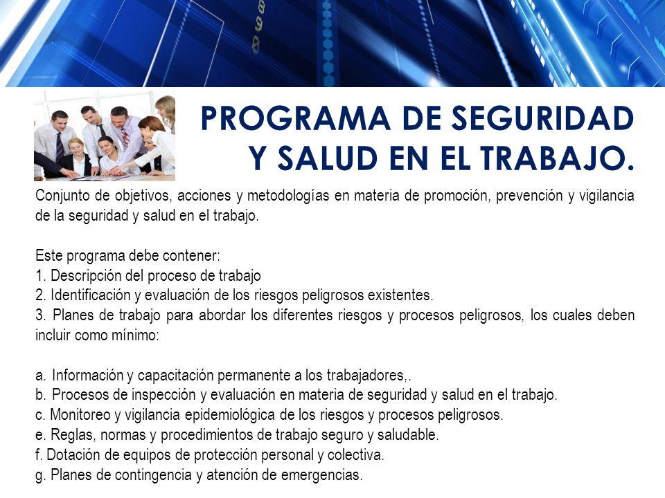 PROGRAMA DE SEGURIDAD Y SALUD EN EL TRABAJO.