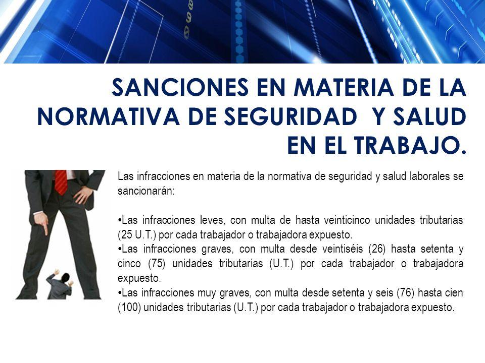 SANCIONES EN MATERIA DE LA NORMATIVA DE SEGURIDAD Y SALUD EN EL TRABAJO.