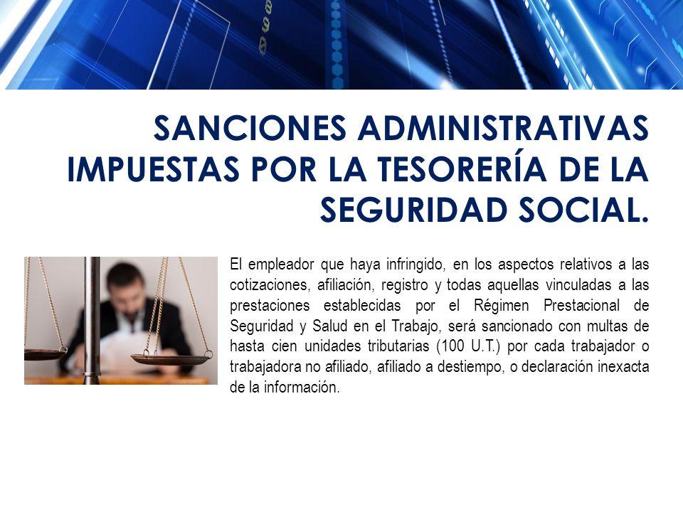 SANCIONES ADMINISTRATIVAS IMPUESTAS POR LA TESORERÍA DE LA SEGURIDAD SOCIAL.