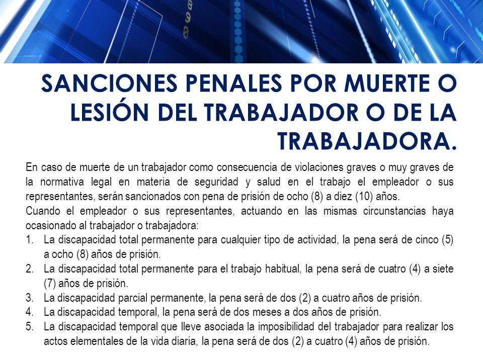SANCIONES PENALES POR MUERTE O LESIÓN DEL TRABAJADOR O DE LA TRABAJADORA.