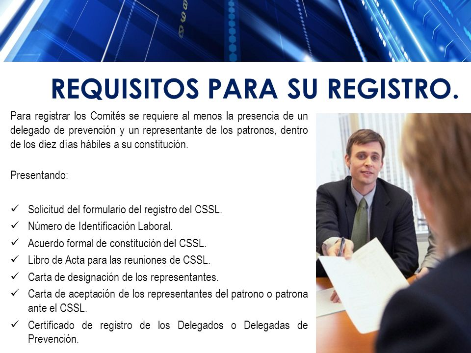 REQUISITOS PARA SU REGISTRO.