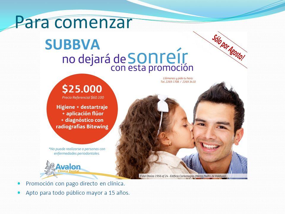 Para comenzar Promoción con pago directo en clínica.