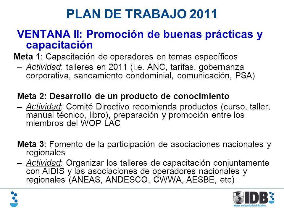 PLAN DE TRABAJO 2011 VENTANA II: Promoción de buenas prácticas y capacitación. Meta 1: Capacitación de operadores en temas específicos.
