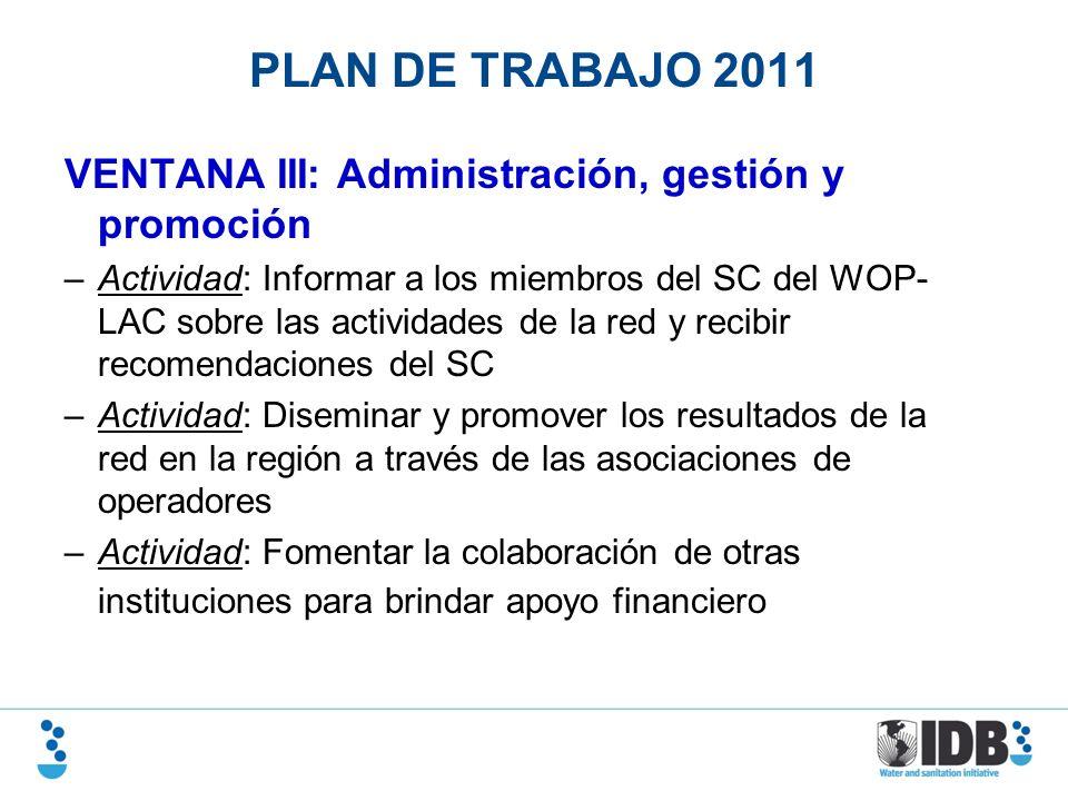 PLAN DE TRABAJO 2011 VENTANA III: Administración, gestión y promoción