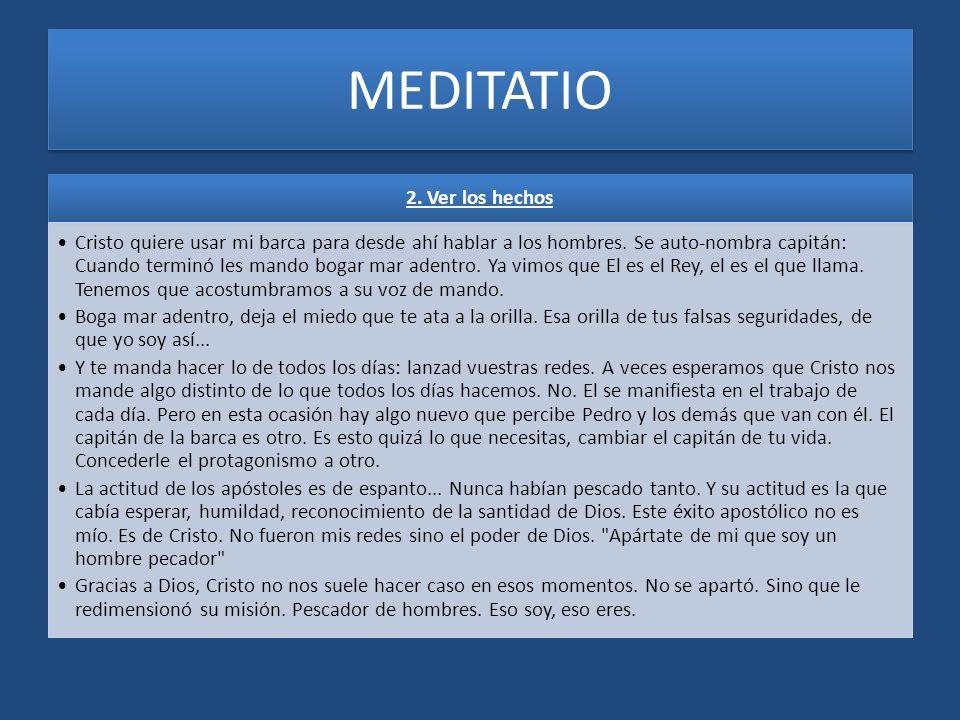 MEDITATIO 2. Ver los hechos