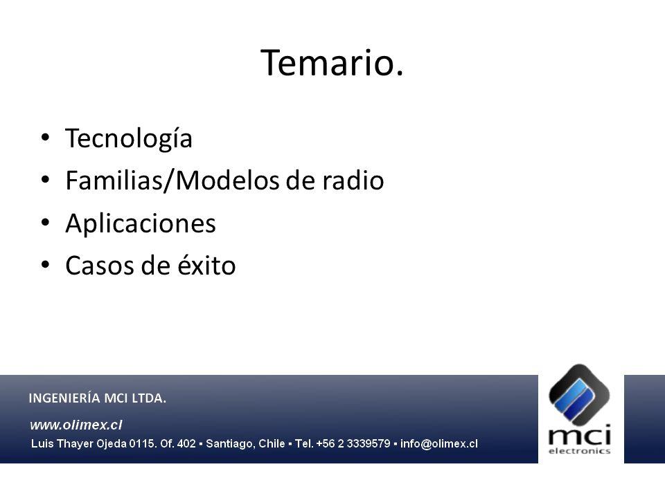 Temario. Tecnología Familias/Modelos de radio Aplicaciones