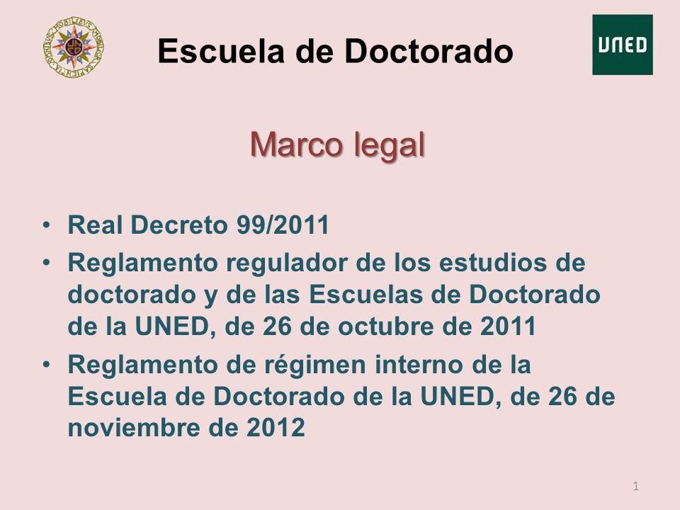 Escuela de Doctorado Marco legal Real Decreto 99/2011