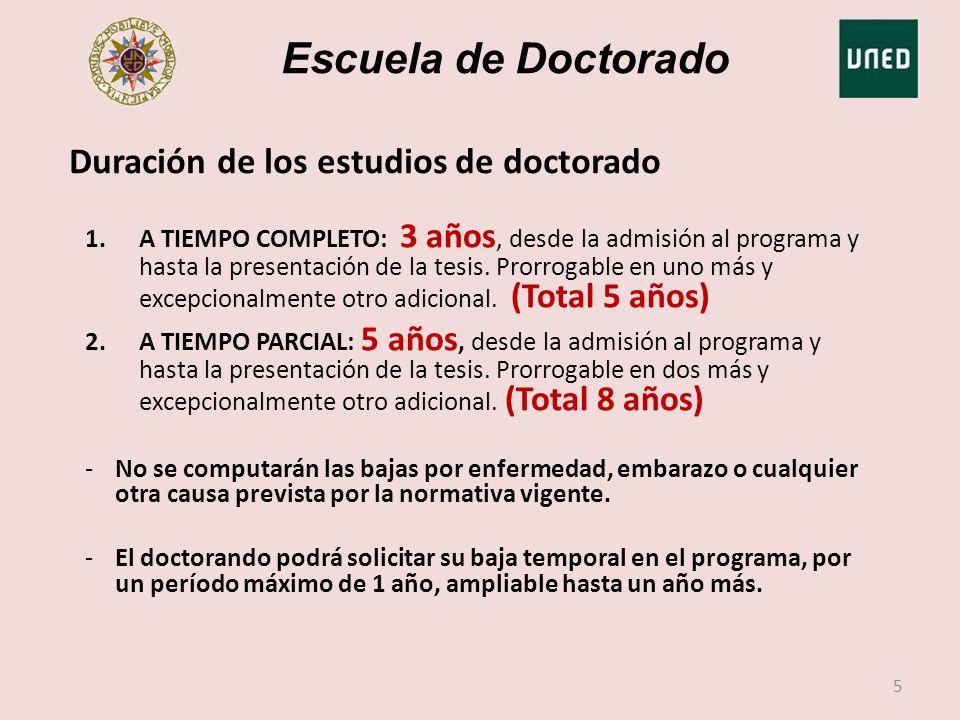 Escuela de Doctorado Duración de los estudios de doctorado