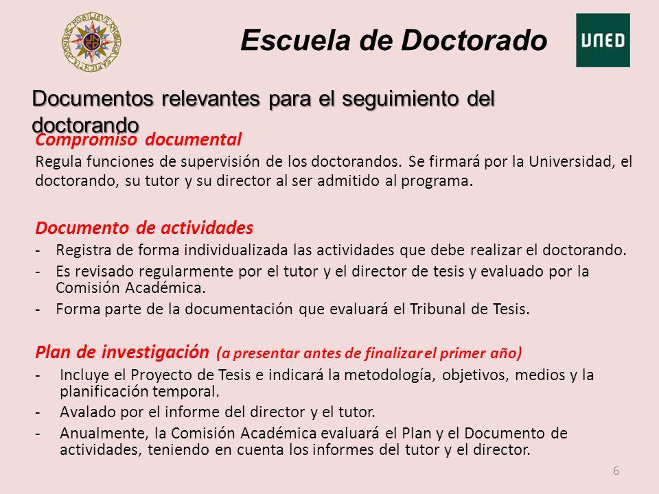 Escuela de Doctorado Documentos relevantes para el seguimiento del doctorando. Compromiso documental.