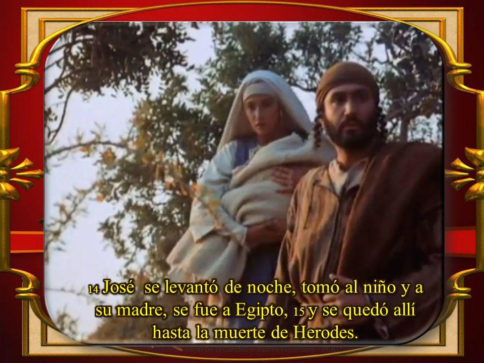 14 José se levantó de noche, tomó al niño y a su madre, se fue a Egipto, 15 y se quedó allí hasta la muerte de Herodes.