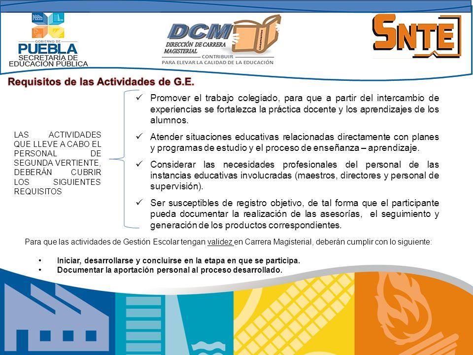 Requisitos de las Actividades de G.E.
